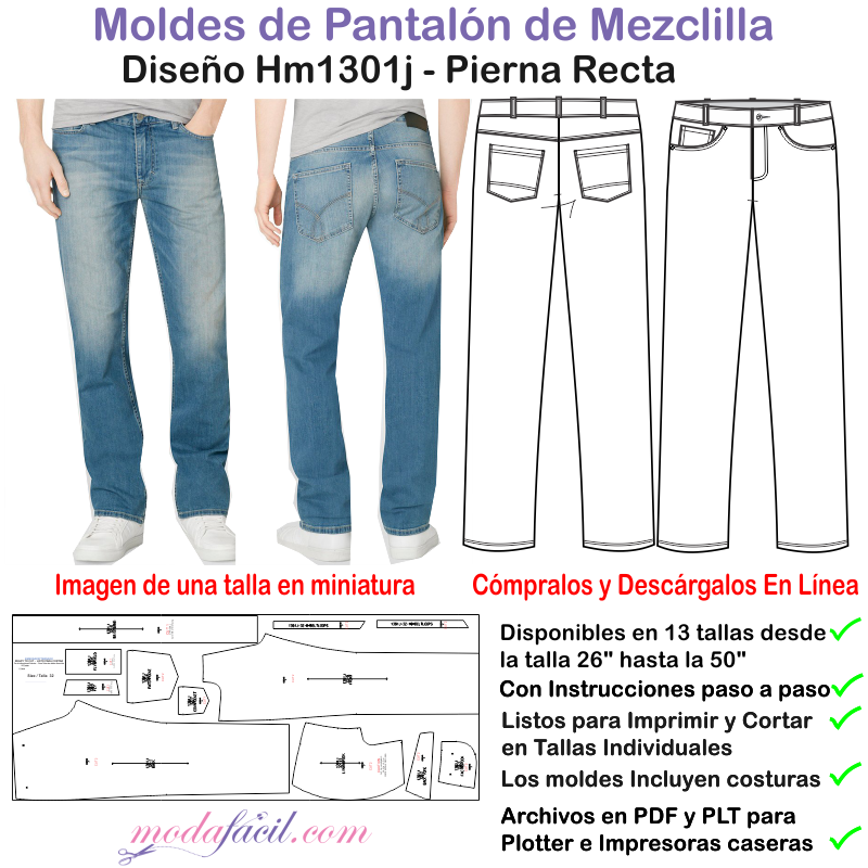 fe23fff28 Descarga el patrón de Pantalón de Mezclilla para Hombres HM1301p ...