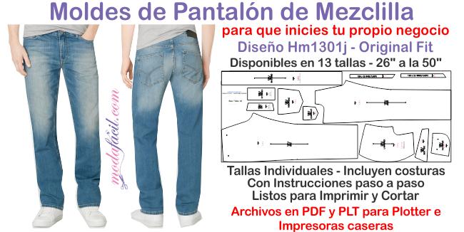 Descarga El Patron De Pantalon De Mezclilla Para Hombres