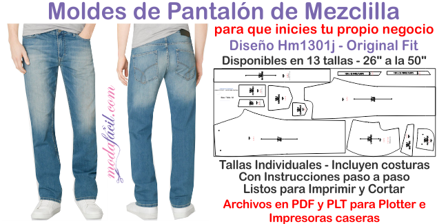 Descarga El Patron De Pantalon De Mezclilla Para Hombres Hm1301p Modafacil Diy