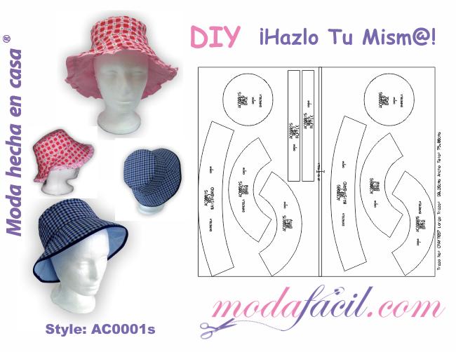 Patrones de Sombreros y Gorros para descargar gratis listos para poner  sobre la tela y cortar 18edfa5bc71a
