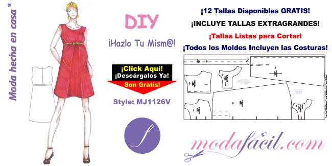 df68dc9b8 Moldes de Vestido de Maternidad mj1126v - Modafacil DIY