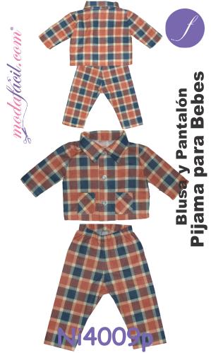Moldes de Pijama para Bebe de Blusa y Pantalón - Modafacil 815c35e0bb87