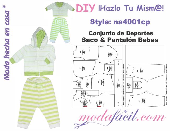 a05ebc77d2 Descarga Gratis los Moldes de Conjunto de Deportes de Saco y Pantalón para  Bebes