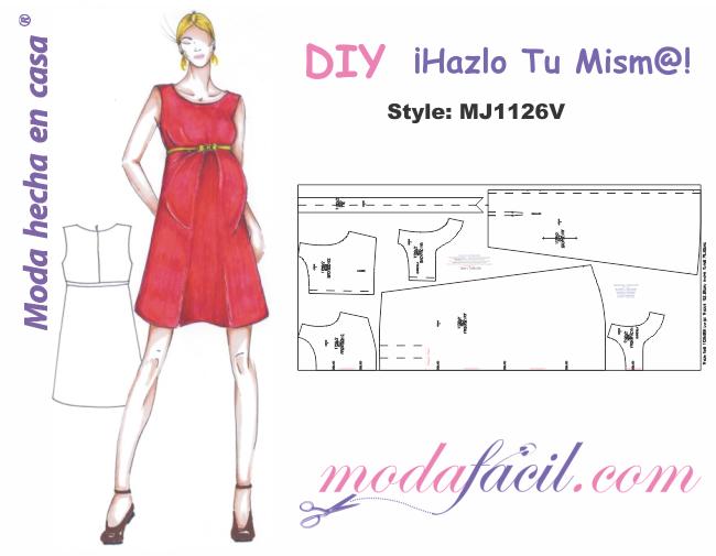 ec6d434f4b Moldes de Vestido de Maternidad mj1126v - Modafacil DIY
