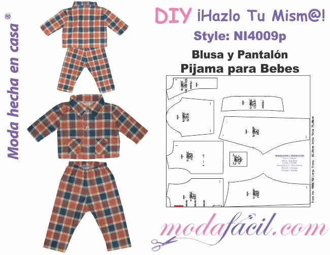 e5493c6357 Moldes de Pijama para Bebe de Blusa y Pantalón - Modafacil