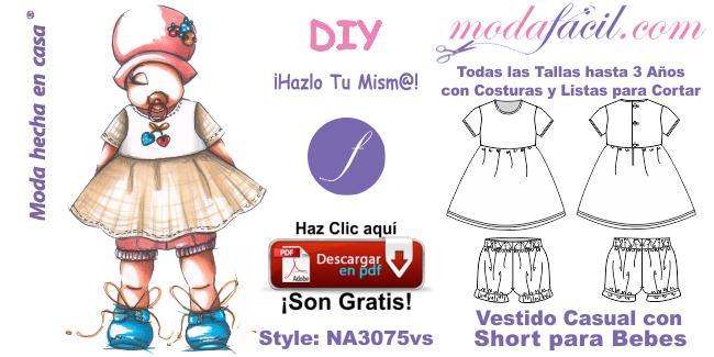 f0353d238 Moldes de Vestido Casual y Short Bombacho para Bebes na3075vs