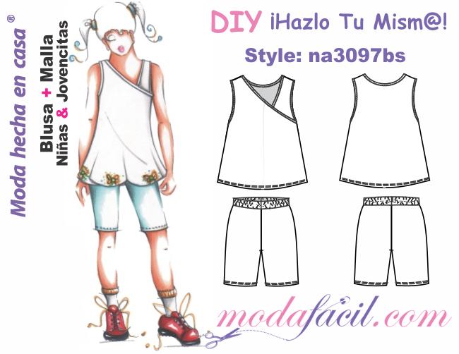 1f45fceb9 Descarga gratis los Moldes de blusa y short tipo casual para niñas y  jovencitas
