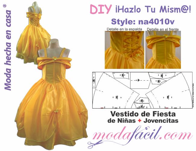 c5ee827122 Descarga gratis los Moldes de vestido de fiesta de niñas y jovencitas