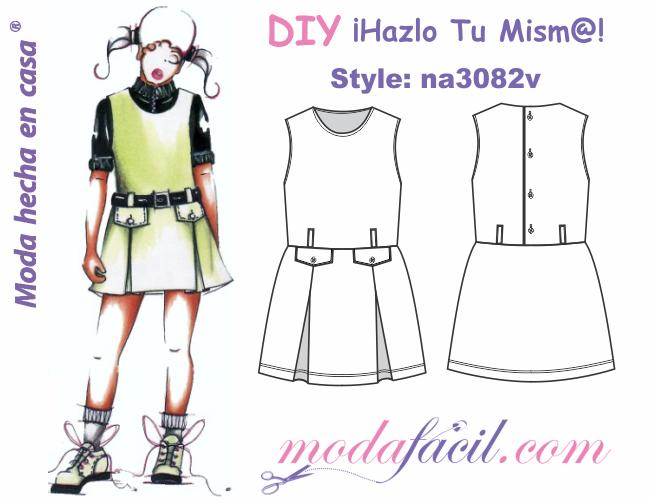e2a618d2f Descarga gratis los Moldes de vestido de niñas y jovencitas tipo jardinera