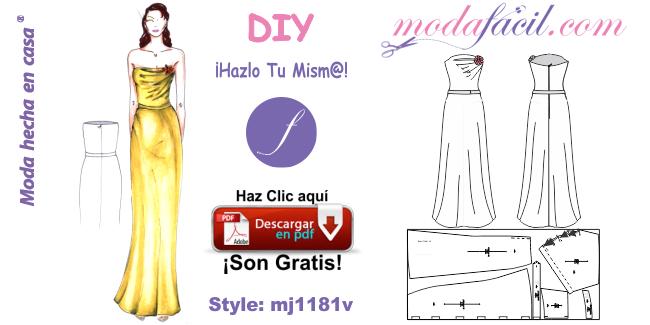 c2c41edfcd Moldes de bello y elegante traje de fiesta de corte Strapless