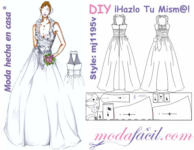 moldes de traje de novia cuello halter y escarola - modafacil