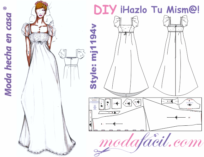 moldes de traje de novia de corte imperio o vestido de fiesta