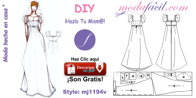 7a9d2530e Moldes de traje de novia de corte imperio o vestido de fiesta