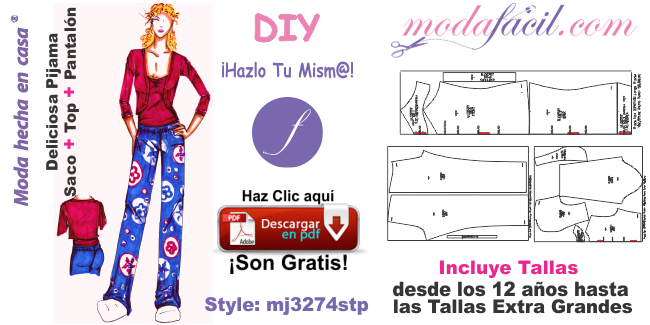 Moldes De Pijama Juvenil De Saco Tipo Torera Top Y Pantalon