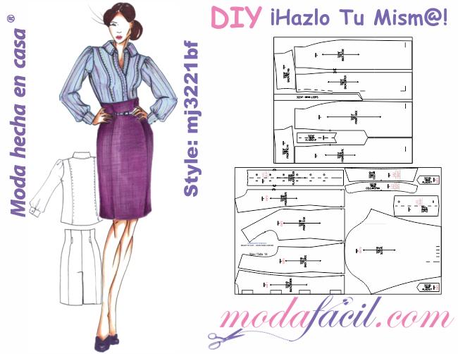007d5edf56 Descarga gratis los moldes de blusa y falda clásicas para damas y ejecutivas