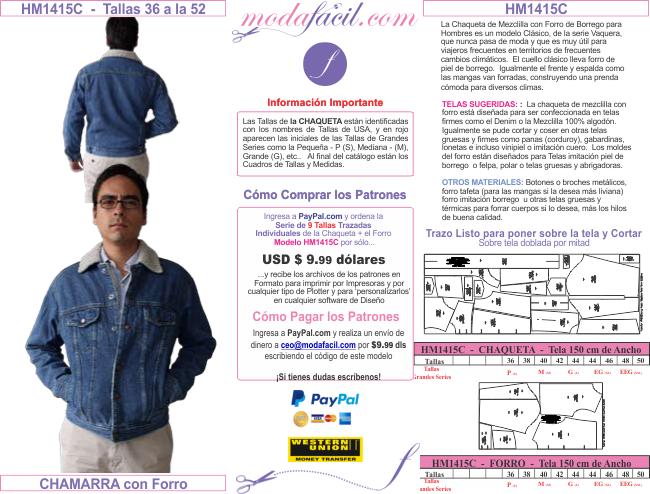 11 Imagen De Los Patrones De Pantalones Bermudas Sacos Y Chaquetas Modelo Hm1415c Denim Jackets For Men Chaquetas De Mezclilla Modafacil