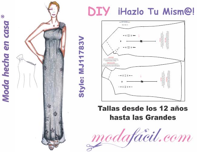 2531e7d77 Patrones de Hermoso Vestido de Fiesta con hombro descubierto mj1183v