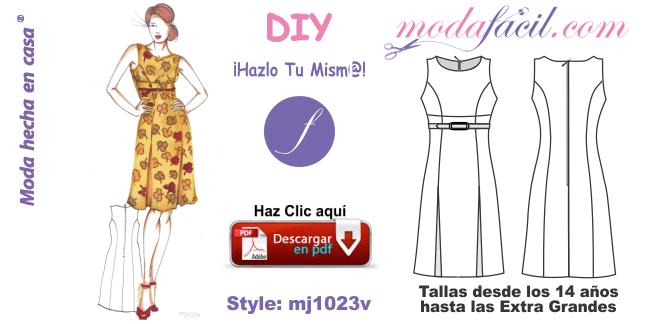 3fe0b97860 Descarga los Moldes del Vestido Corte Princesa mj1023v - Modafacil DIY