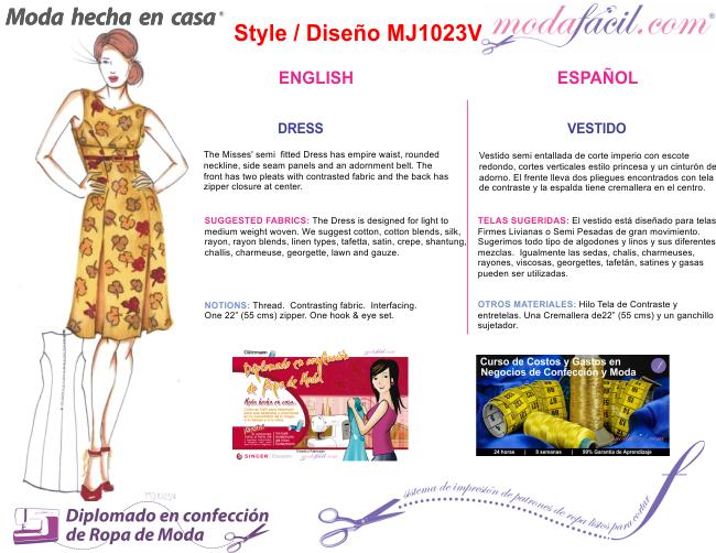 a846ec185c Imagen de las Instrucciones del Vestido Corte Princesa con Pliegues mj1023v  .