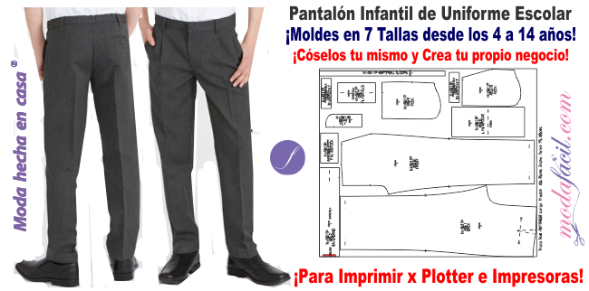 Patron De Pantalon Para Uniforme Escolar Ni4011p Modafacil Diy