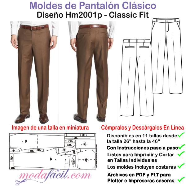 dc57e5bf3f Descarga los Patrones de Costura Gratis del Pantalón fino para hombres